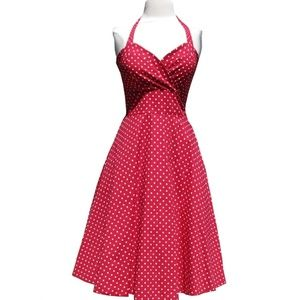 Ruby Rox Rockabilly Pin-Up Girl Polka Dot Dress
